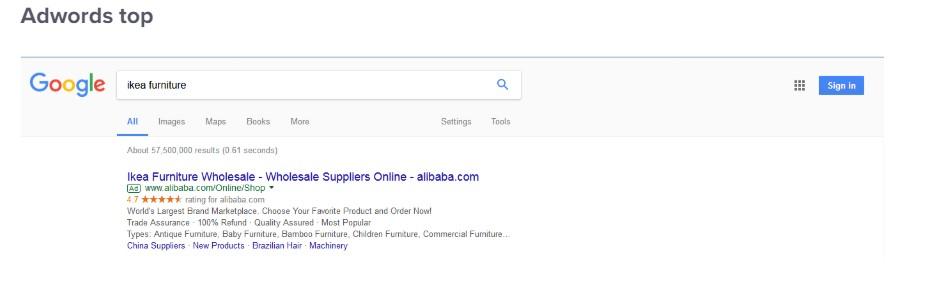Google Ads bovenaan