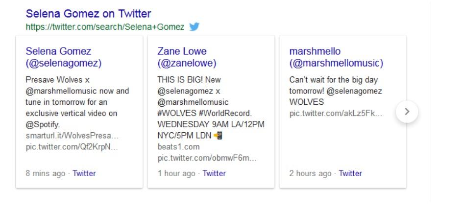 Twitter box in Google